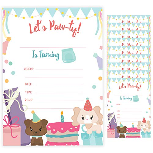 (Puppy Dog Doggy Happy Birthday Invitations Invite Cards (10 Count) With Envelopes Boys Girls Kids Party (10ct))