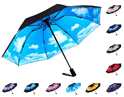 Fidus Reverse/Inverted Automatic Windproof Folding Travel Umbrella - Compact Lightweight Portable Outdoor UV Protection Golf Umbrella For Women Men Kids-sky blue