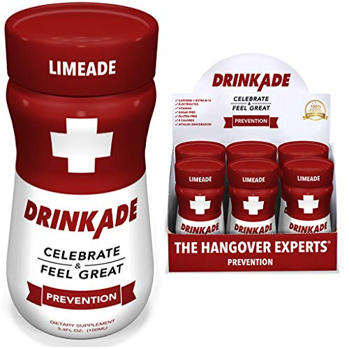 DrinkAde Hangover Prevention Hydration & Liver Detox (6 Pack) with Electrolytes, Vitamin B, Milk Thistle | Only 5 Calories | Vegan, Caffeine-Free, Non-GMO | Previously Never Too ()