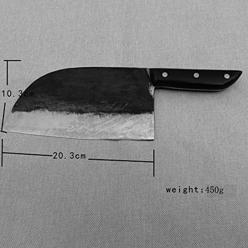 Manual forging Kitchen Knife Chef's Meat Cleaver Butcher Knife Vegetable Cutter with (Black handle) by LICAIDAO (Image #3)
