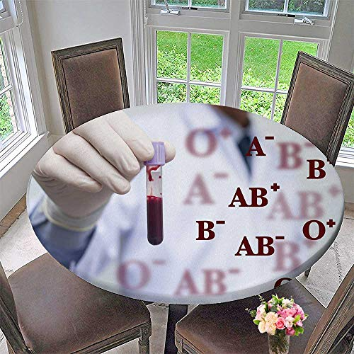 (Luxury Round Table Cloth for Home use Male Doctor or Technician h red Blood Whole Blood in Test Tube for Buffet Table, Holiday Dinner 35.5