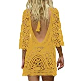 Jeasona Women's Bathing Suit Cover Up Crochet Lace Bikini Swimsuit Dress (Ginger, M)