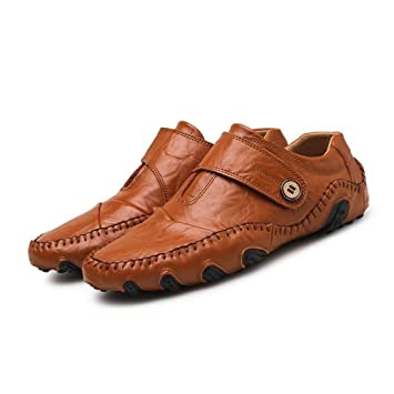 Oudan Mocasines para Hombres Zapatos, Mocasines para Hombres Mocasines Casual Tacón Plano con Cuero Genuino