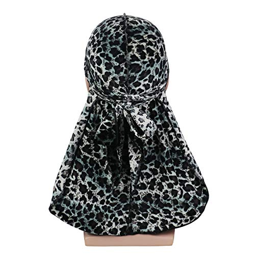 Silky Leopard Print Velvet Durag 360, 540,720 Waves Extra Long Tail and Wide Straps for Men Du-RAG(4-Colors)