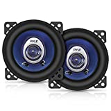 "4"" Car Sound Speaker (Pair) - Upgraded Blue Poly Injection Cone 2-Way 180 Watt Peak w/Non-fatiguing Butyl Rubber Surround 110-20Khz Frequency Response 4 Ohm & 3/4"" ASV Voice Coil - Pyle PL42BL"