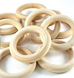 "PEPPERLONELY Brand, 20 Natural Wood Rings 2-2/8"" (56mm)"