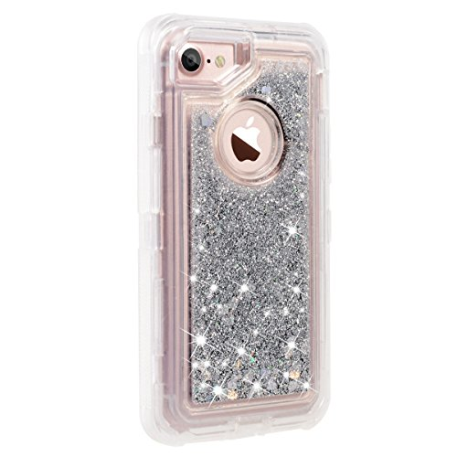 best sneakers 0972b b919f iPhone 8 Case, iPhone 7 Case, iPhone 6s Case, Dexnor Glitter 3D Bling  Sparkle Flowing Liquid Case for Girls Transparent 3 in 1 Shockproof TPU  Silicone ...