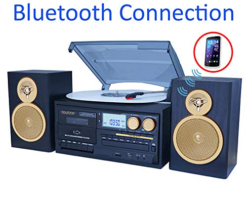 Boytone BT-28SPG 3-Speed Bluetooth Turntable System, Front Loading CD/MP3/Cassette Player, AM/FM Stereo Radio, Aux, SD Slot, USB, Headphone Jack, Wooden Speakers, 110/220 Volt (Gold Limited Edition) (Electronics Tape Player)