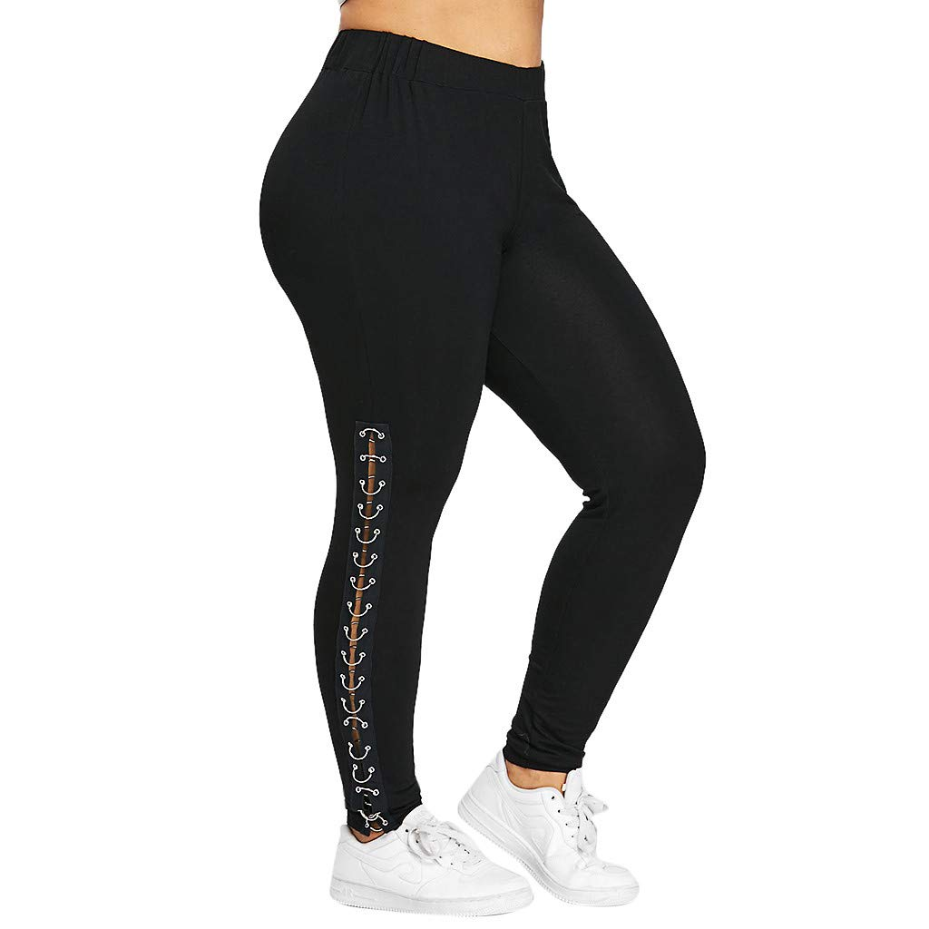 Usstore  Women Plus Size Leggings Pants Fall Winter Casual Elastic Waist Metal Ring Hollow Out Yoga Gym Run Trousers