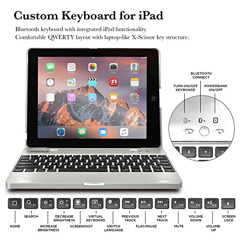 COOPER KAI SKEL P1 Keyboard case compatible with iPad 4, iPad 3, iPad 2 | Bluetooth, Wireless Clamshell Cover with Keyboard | Built-in 2800mAh Power Bank to charge iPad, iPhone | 60HR Battery (Silver) by Cooper Cases (Image #5)