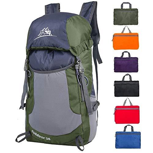 Luisport Waterproof Foldable Hiking Backpacks Travel Backpack Small Backpacks Cute Backpacks for Women and Girls Best Backpacks for Men Camping Backpacks (Army Green)