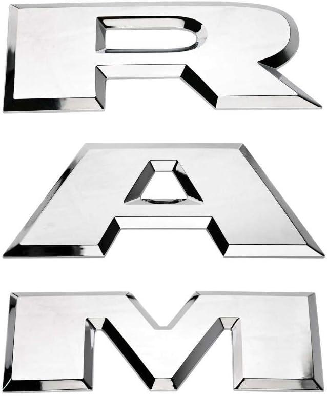SENYAZON Ram Emblema Trasero Ram Letras Insignia Placa Placa Placa de identificación Coche Adhesivo para Dodge Ram Accesorios (Cromado)