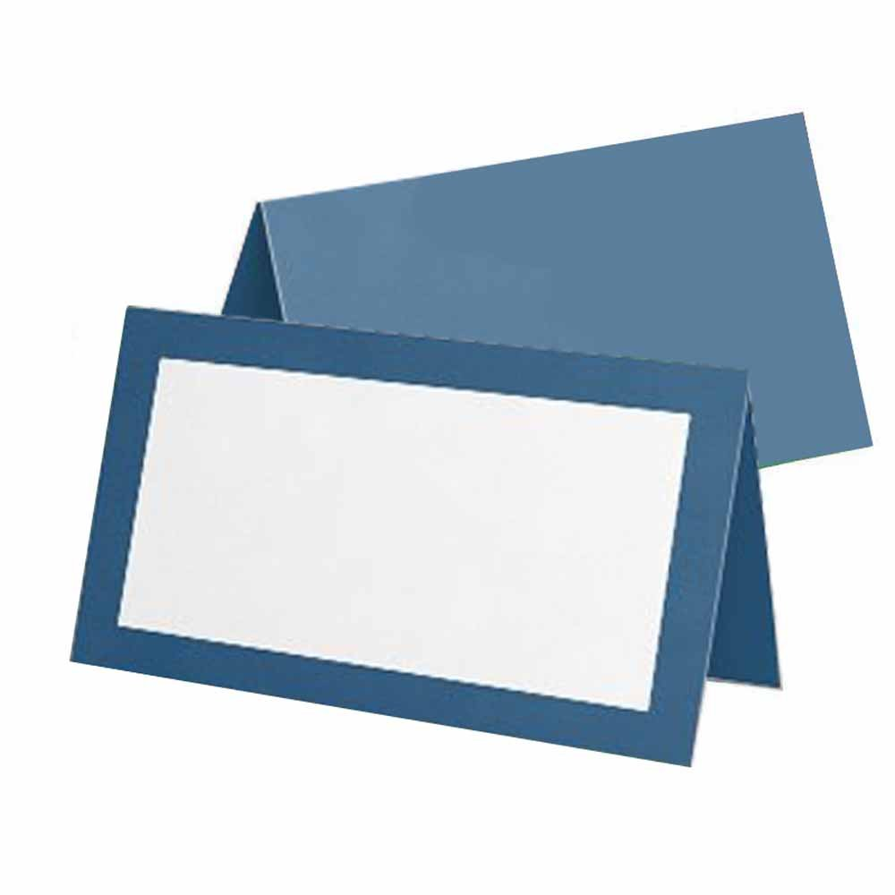 Blue Place Cards - Flat or Tent - 10 or 50 Pack - White Blank Front with Solid Color Border - Placement Table Name Seating Stationery Party Supplies - Occasion or Dinner Event (50, Tent Style)