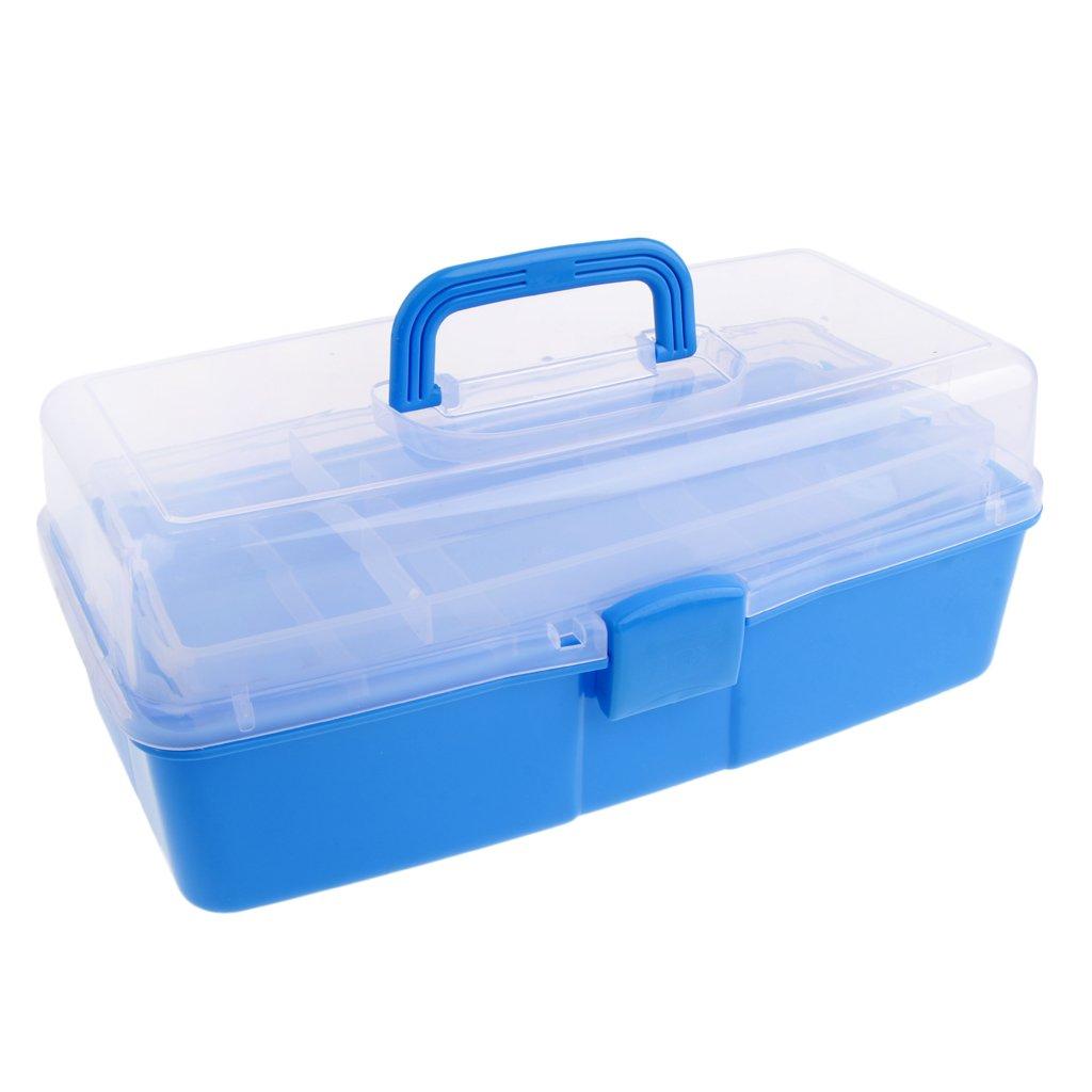 MagiDeal 3 Tier Large Plastic Storage Box Case Nail Art Craft Makeup Organizer - Light Blue