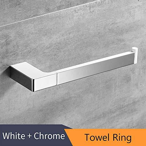 WEN-UD White +Chrome Zinc Alloy Towel Ring Robe Hook Toilet Brush Holder Towel Bar Bathroom Accessories Set Paper Holder Towel Ring
