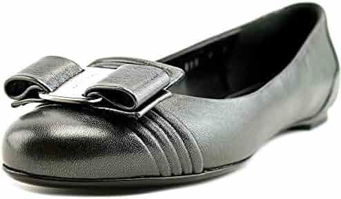 c37176b105ac49 Salvatore Ferragamo Lulu Grahite Metallic Bow Ballet Flats Size 6 M US