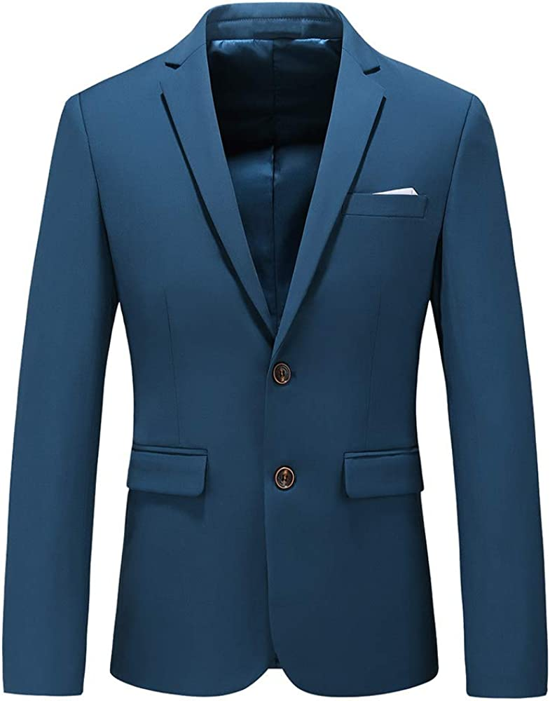 Mens Casual Two Button Suit Jacket Single Breasted Modern Wedding Tux Blazer