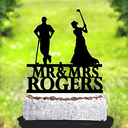Golf Wedding Cake Toppers Bride and Groom,Golf Theme