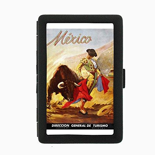 Perfection In Style Black Color Metal Cigarette Case D-043 Matador Mexico Vintage Travel Turismo