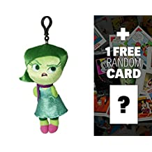 "Disgust: ~8"" Disney Pixar Inside Out Zippered Clip Plush Doll + 1 FREE Classic Disney Trading Card Bundle"