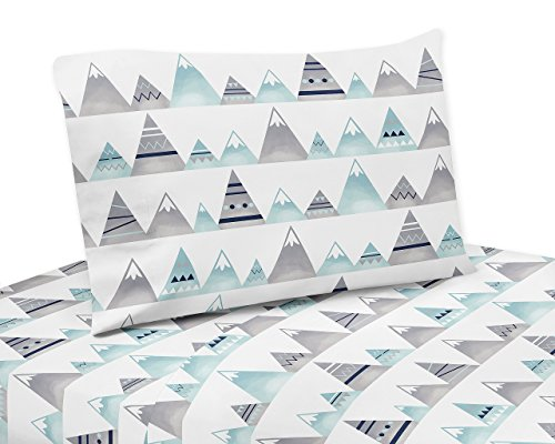 (Sweet Jojo Designs 3-Piece Navy Blue, Aqua and Grey Aztec Twin Sheet Set for Mountains Collection Set)