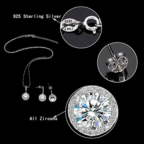 EVER FAITH 925 Sterling Silver CZ Gorgeous Round Cut Wedding Pendant Necklace Earrings Set 5