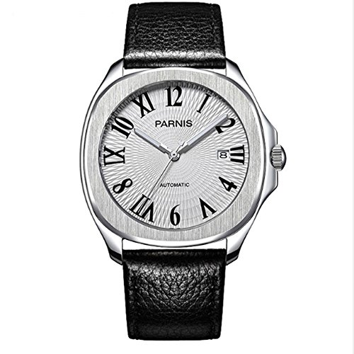 Classic 40MM Parnis Black Dial 21 Jewels MIYOTA Automatic Movement Wrist Watch for Mens Sapphire Crystal ()