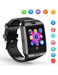 Bluetooth Smartwatch with Camera, Smart Watch Q18 Touchscreen Fitness Tracker Smart Wrist Watch for Android Samsung iOS(Black)