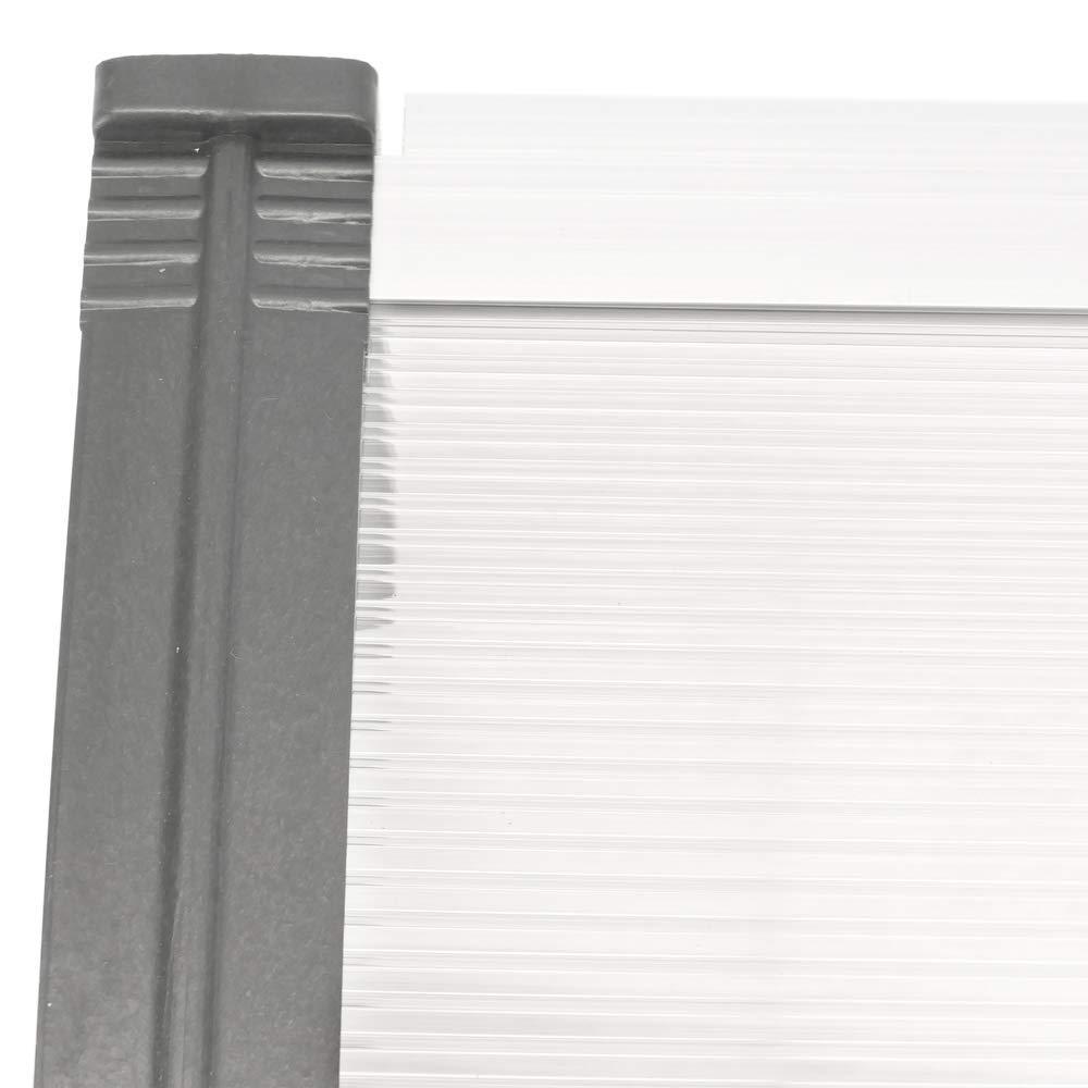 PrimeMatik Pensilina Tettoia in policarbonato per Porta o Finestra per Esterno Grigio 100x80cm