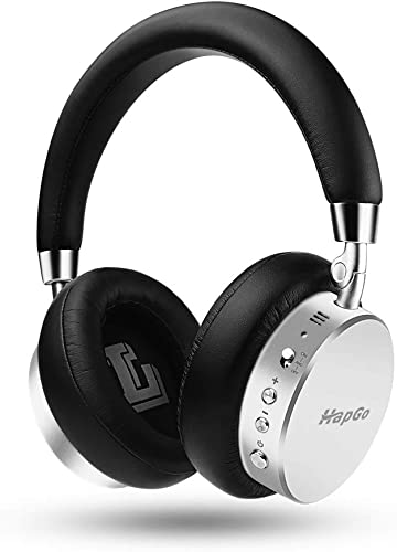Active Noise Cancelling Headphones Bluetooth,HapGo Headphones with Mic Deep Bass Wireless All Metal Headphones Over Ear, Comfortable Protein Earpads, 30H Playtime for Travel Work TV PC Sliver