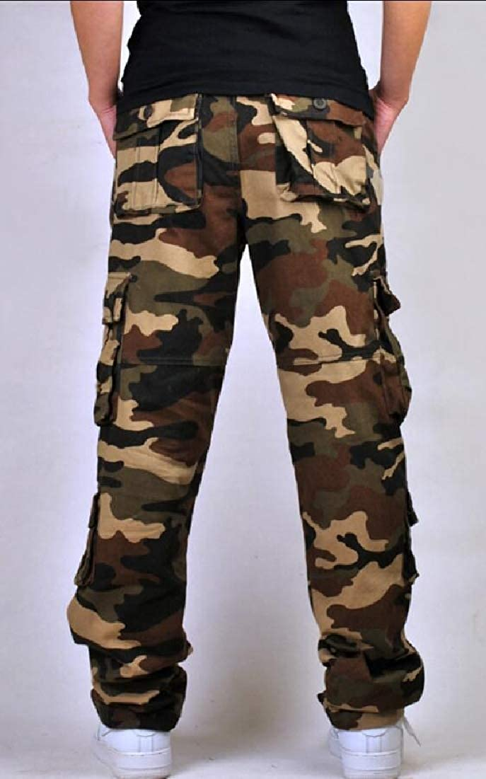 XQS Mens Cotton Military Army Cargo Camo Combat Work Pants Trouser