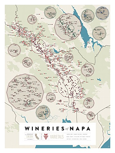 Pop Chart Lab P2 Wine Map-Wineries of Napa Poster Print, 18