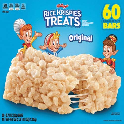 Kellogg's Rice Krispies Treats, Original, 0.78 oz, 60 ct -
