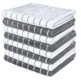 Gryeer Microfiber Dish Towels - 8 Pack (Stripe Designed Gray and White Colors) - Soft