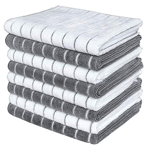 Gryeer Microfiber Dish Towels - 8 Pack (Stripe Designed Gray and White Colors) - Soft, Super Absorbent and Lint Free Kitchen Towels, 26 x 18 Inch (Best Towels For Drying Dishes)