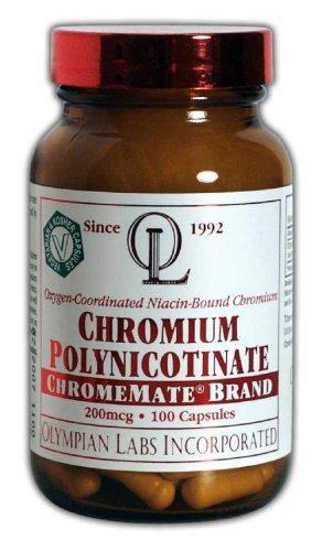 Olympian Labs polynicotinate de chrome, Chromemate, 200mcg (Pack de 2) (emballage peuvent varier)