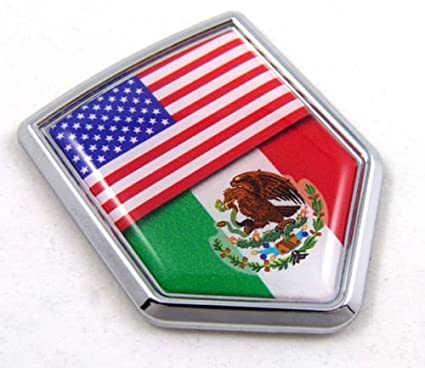 USA Mexico American Mexican Flag Car Chrome Emblem Decal 3D Sticker with  adhesive