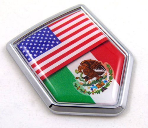 Decal Badge Car (USA Mexico American Mexican Flag Car Chrome Emblem Decal 3D Sticker with adhesive)