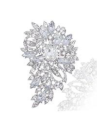 Ever Faith Wedding Flower Leaf Brooch Pendant Clear Austrian Crystal