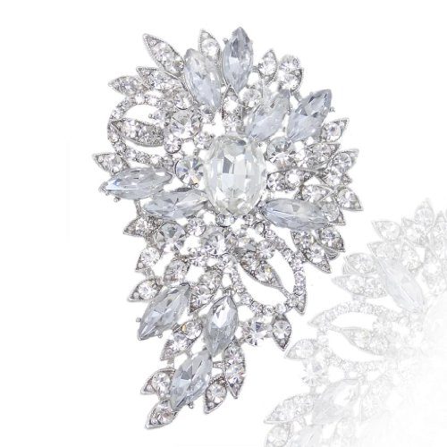 EVER FAITH Women's Austrian Crystal Wedding Flower Leaf Bouquet Brooch Clear Silver-Tone (Stone Flower Brooch)
