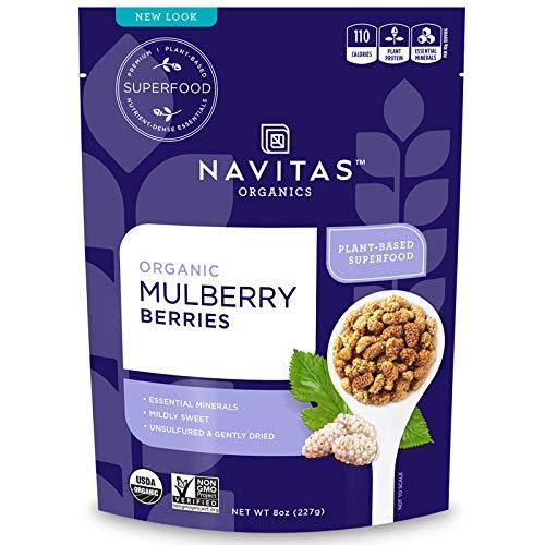 Navitas Organics Mulberries, 8 oz. Bag - Organic, Non-GMO, Sun-Dried, Gluten-Free, Sulfite-Free