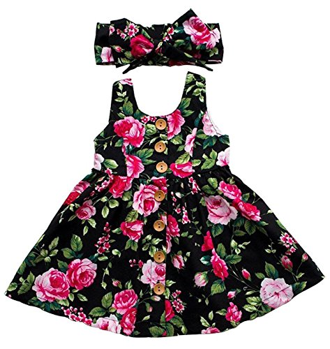 Rjxdlt Baby Girls Dresses Flower Printed Skirt Dress 6-12 Months