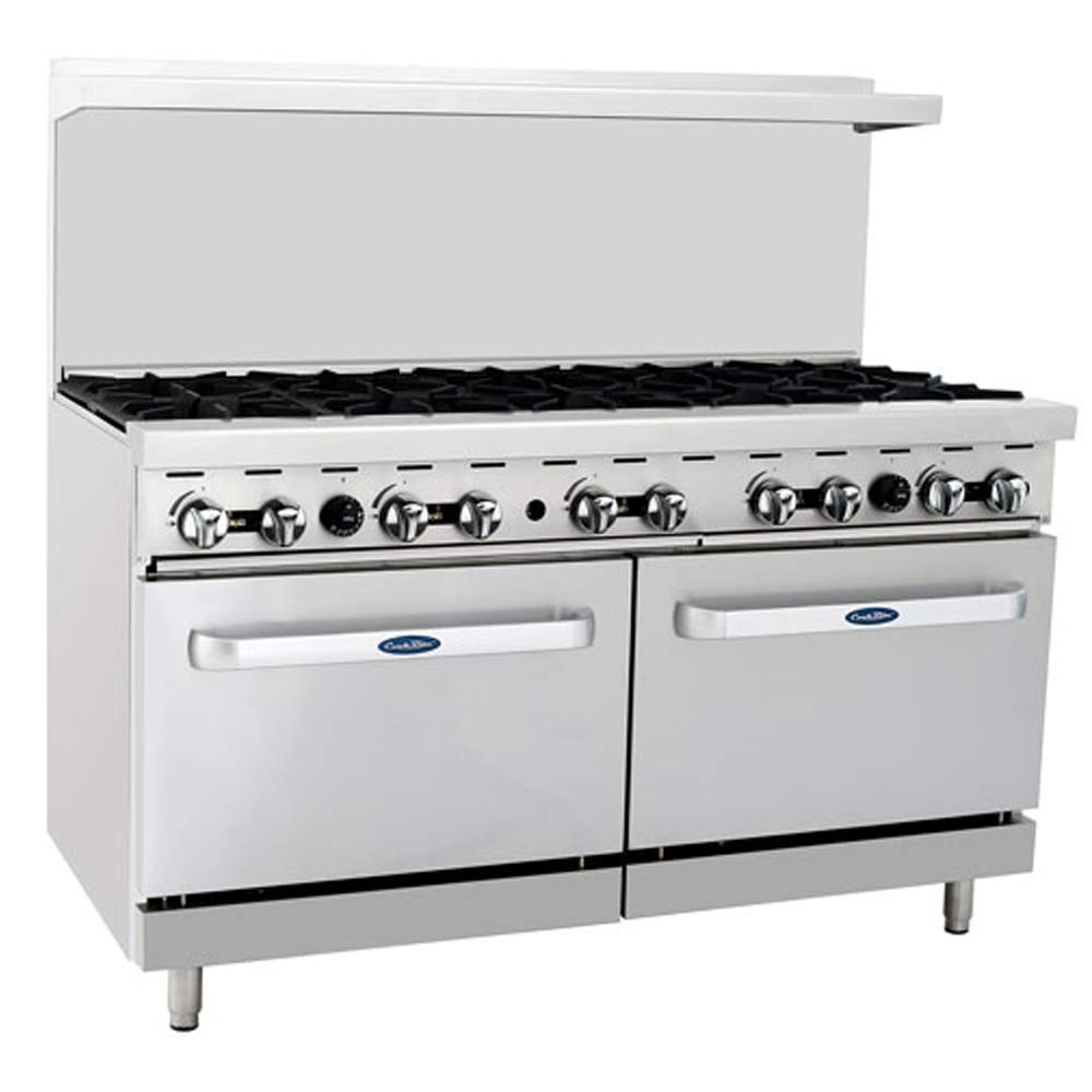 "ATOSA US ATO-10B Commercial Range 10 Burner Hotplates Stainless Steel With 2 Standard Ovens 60"" Cooks Standard Liquid Propane Restaurant Range - 248,000 BTU"