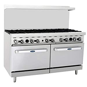 "CookRite ATO-10B Commercial Manual Natural Gas Range 10 Burner Hotplates With 2 Standard Ovens 60"" - 304,000 BTU"