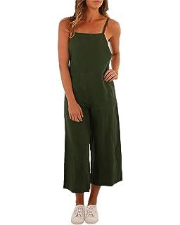 3011dfa18f ACHIOOWA Women s Casual Loose Dungarees Baggy Jumpsuit Playsuit Retro  Sleeveless Trousers Pants Plus Size