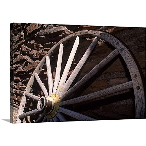 GREATBIGCANVAS Gallery-Wrapped Canvas Entitled Close-up of Old Wagon Wheel, AZ by 60