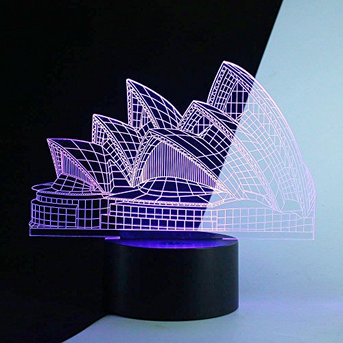 Urwise 3D Sydney Opera House LED Night Light 7 Color Charge Button LED Desk Table Light Lamp Bedroom - Out Night Sydney