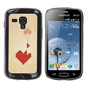 Be Good Phone Accessory // Dura Cáscara cubierta Protectora Caso Carcasa Funda de Protección para Samsung Galaxy S Duos S7562 // Love Pixel Art Balloon Brown Beige Heart