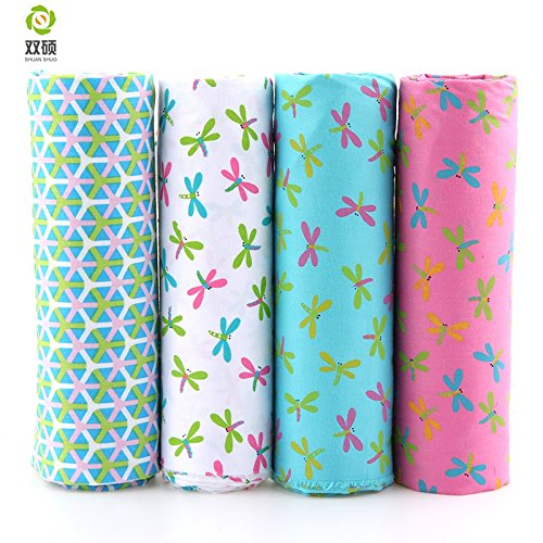 Arshily - Dragonfly Patchwork Cotton Fabric Fat Quarter tiluda Cloth Quilt Patchwork Fabric Sewing Doll's choos 4 Pieces lot 40 50CM