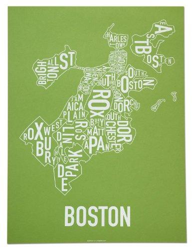 Boston Neighborhoods Map Art Screen Print, Green & White